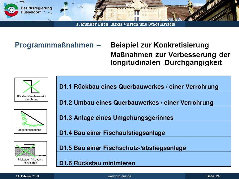 www.brd.nrw.de 24Seite 14. Februar 2008 1. Runder Tisch Kreis Viersen und Stadt Krefeld Programmmaßnahmen – Beispiel zur Konkretisierung Maßnahmen zur