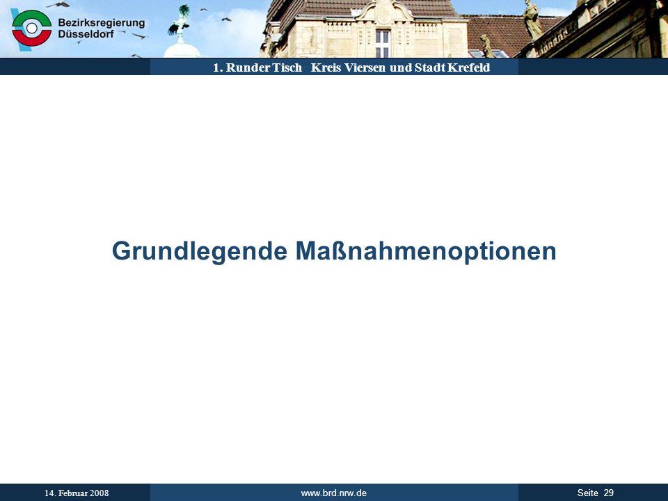 www.brd.nrw.de 29Seite 14. Februar 2008 1. Runder Tisch Kreis Viersen und Stadt Krefeld Grundlegende Maßnahmenoptionen