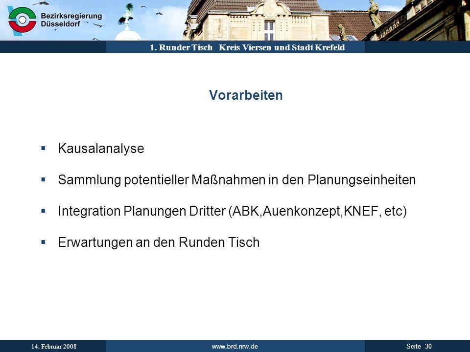 www.brd.nrw.de 30Seite 14. Februar 2008 1. Runder Tisch Kreis Viersen und Stadt Krefeld Vorarbeiten Kausalanalyse Sammlung potentieller Maßnahmen in d