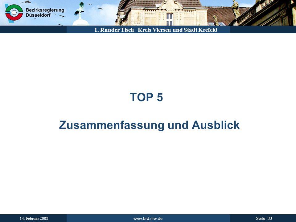 www.brd.nrw.de 33Seite 14. Februar 2008 1. Runder Tisch Kreis Viersen und Stadt Krefeld TOP 5 Zusammenfassung und Ausblick