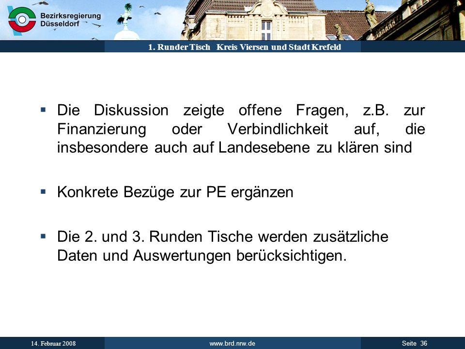 www.brd.nrw.de 36Seite 14. Februar 2008 1. Runder Tisch Kreis Viersen und Stadt Krefeld Die Diskussion zeigte offene Fragen, z.B. zur Finanzierung ode