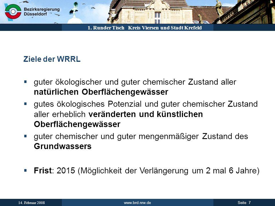www.brd.nrw.de 7Seite 14. Februar 2008 1. Runder Tisch Kreis Viersen und Stadt Krefeld Ziele der WRRL guter ökologischer und guter chemischer Zustand