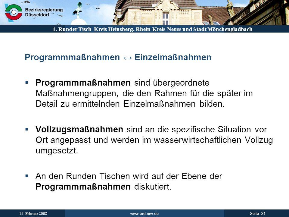 www.brd.nrw.de 21Seite 15. Februar 2008 1. Runder Tisch Kreis Heinsberg, Rhein-Kreis-Neuss und Stadt Mönchengladbach Programmmaßnahmen Einzelmaßnahmen