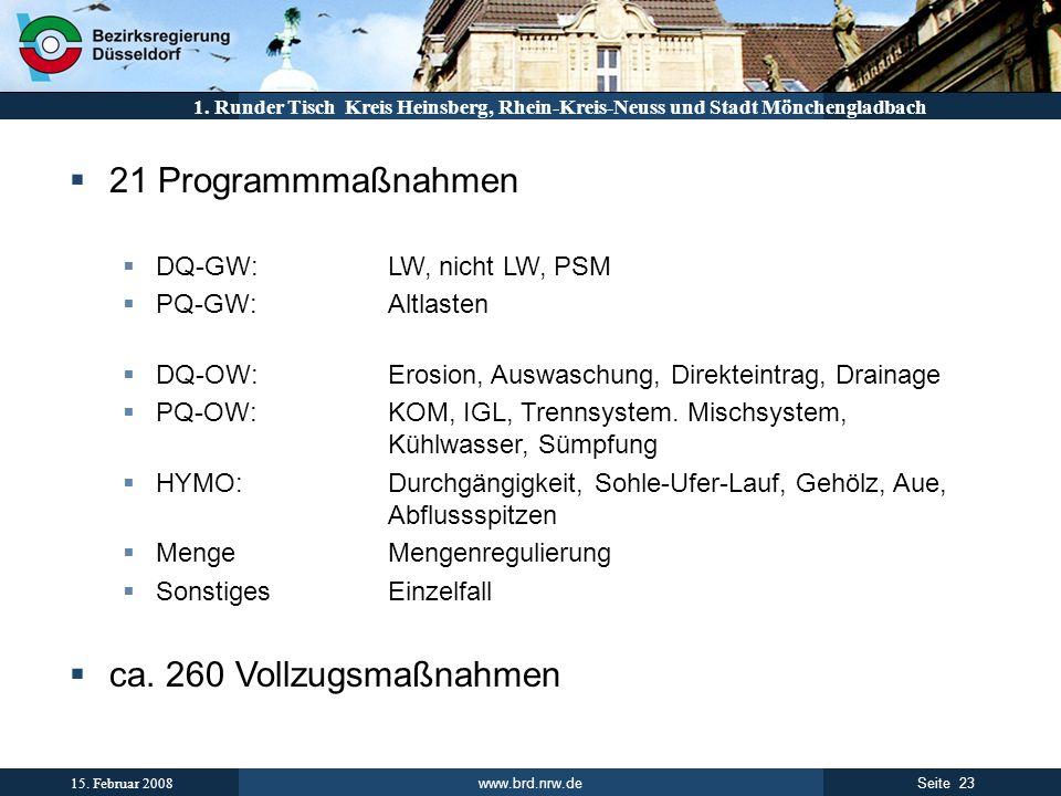 www.brd.nrw.de 23Seite 15. Februar 2008 1. Runder Tisch Kreis Heinsberg, Rhein-Kreis-Neuss und Stadt Mönchengladbach 21 Programmmaßnahmen DQ-GW:LW, ni