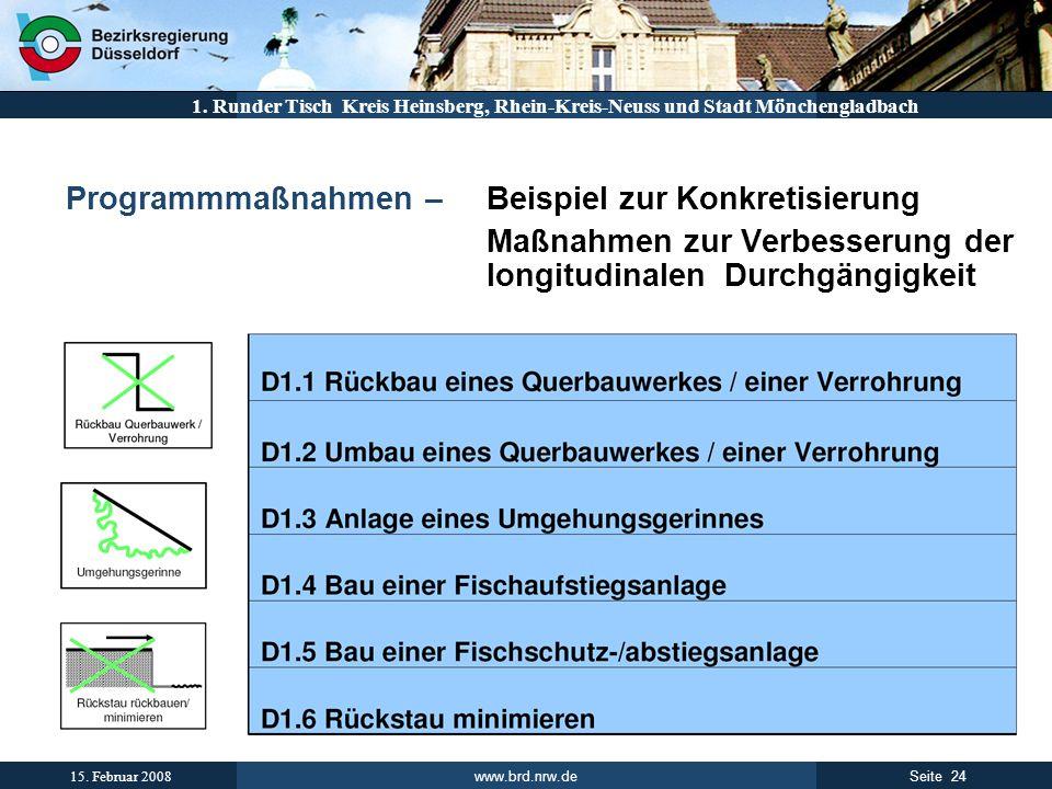 www.brd.nrw.de 24Seite 15. Februar 2008 1. Runder Tisch Kreis Heinsberg, Rhein-Kreis-Neuss und Stadt Mönchengladbach Programmmaßnahmen – Beispiel zur