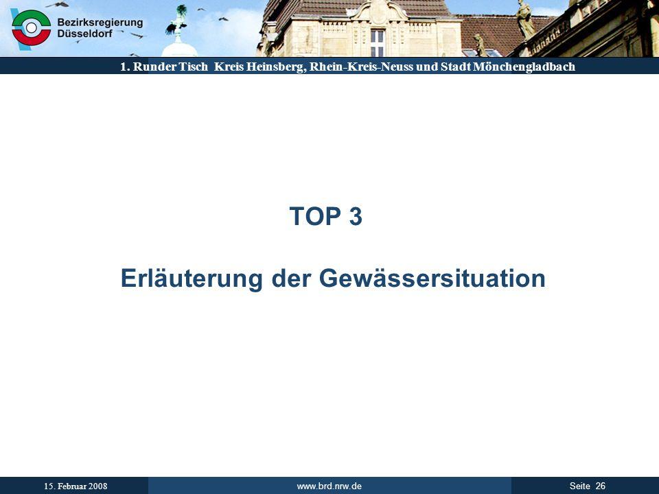 www.brd.nrw.de 26Seite 15. Februar 2008 1. Runder Tisch Kreis Heinsberg, Rhein-Kreis-Neuss und Stadt Mönchengladbach TOP 3 Erläuterung der Gewässersit