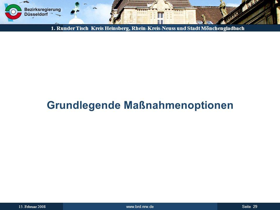 www.brd.nrw.de 29Seite 15. Februar 2008 1. Runder Tisch Kreis Heinsberg, Rhein-Kreis-Neuss und Stadt Mönchengladbach Grundlegende Maßnahmenoptionen