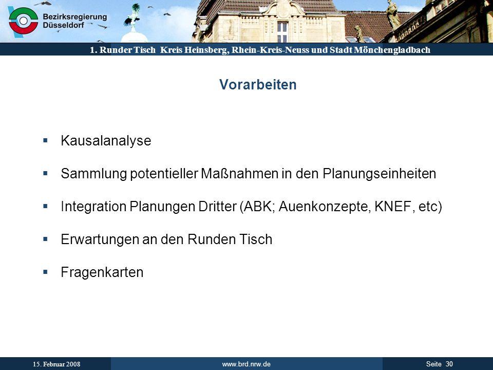 www.brd.nrw.de 30Seite 15. Februar 2008 1. Runder Tisch Kreis Heinsberg, Rhein-Kreis-Neuss und Stadt Mönchengladbach Vorarbeiten Kausalanalyse Sammlun