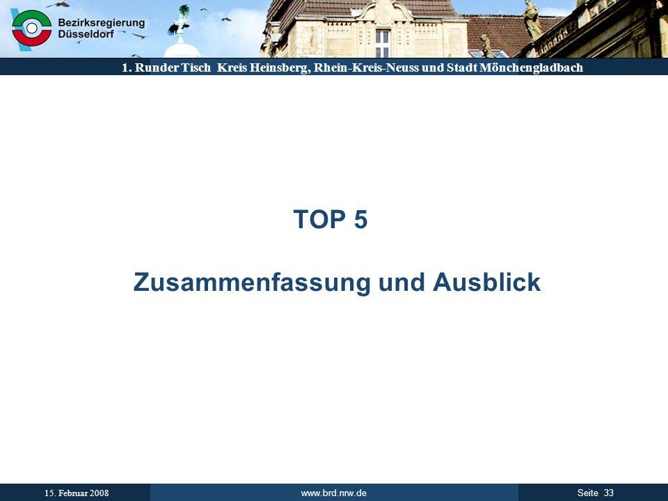 www.brd.nrw.de 33Seite 15. Februar 2008 1. Runder Tisch Kreis Heinsberg, Rhein-Kreis-Neuss und Stadt Mönchengladbach TOP 5 Zusammenfassung und Ausblic