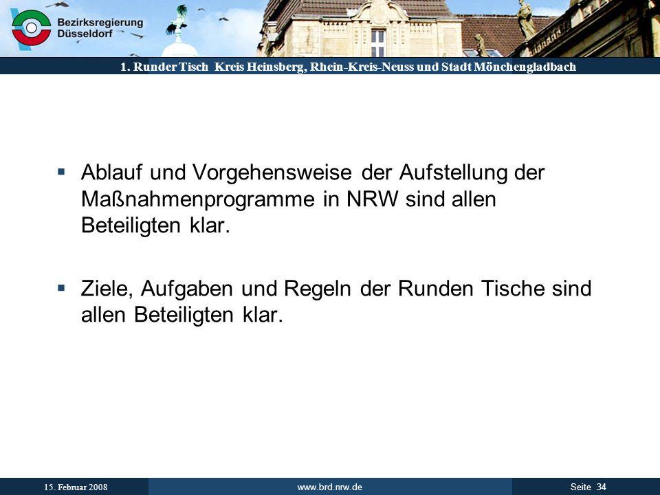 www.brd.nrw.de 34Seite 15. Februar 2008 1. Runder Tisch Kreis Heinsberg, Rhein-Kreis-Neuss und Stadt Mönchengladbach Ablauf und Vorgehensweise der Auf