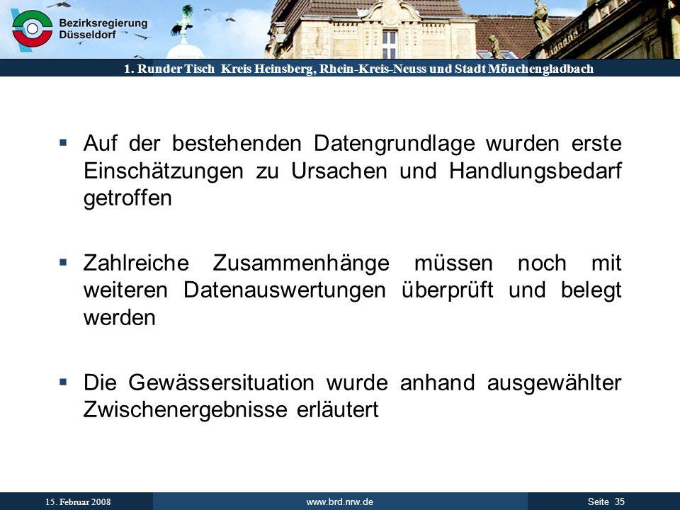 www.brd.nrw.de 35Seite 15. Februar 2008 1. Runder Tisch Kreis Heinsberg, Rhein-Kreis-Neuss und Stadt Mönchengladbach Auf der bestehenden Datengrundlag
