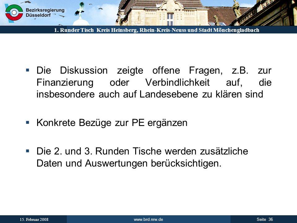 www.brd.nrw.de 36Seite 15. Februar 2008 1. Runder Tisch Kreis Heinsberg, Rhein-Kreis-Neuss und Stadt Mönchengladbach Die Diskussion zeigte offene Frag