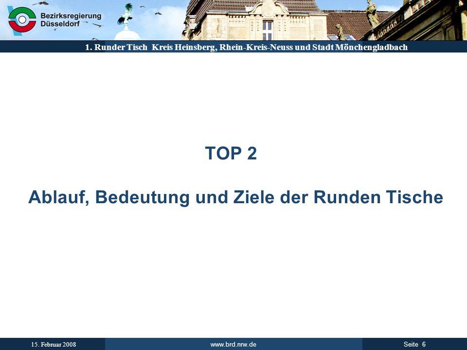 www.brd.nrw.de 6Seite 15. Februar 2008 1. Runder Tisch Kreis Heinsberg, Rhein-Kreis-Neuss und Stadt Mönchengladbach TOP 2 Ablauf, Bedeutung und Ziele