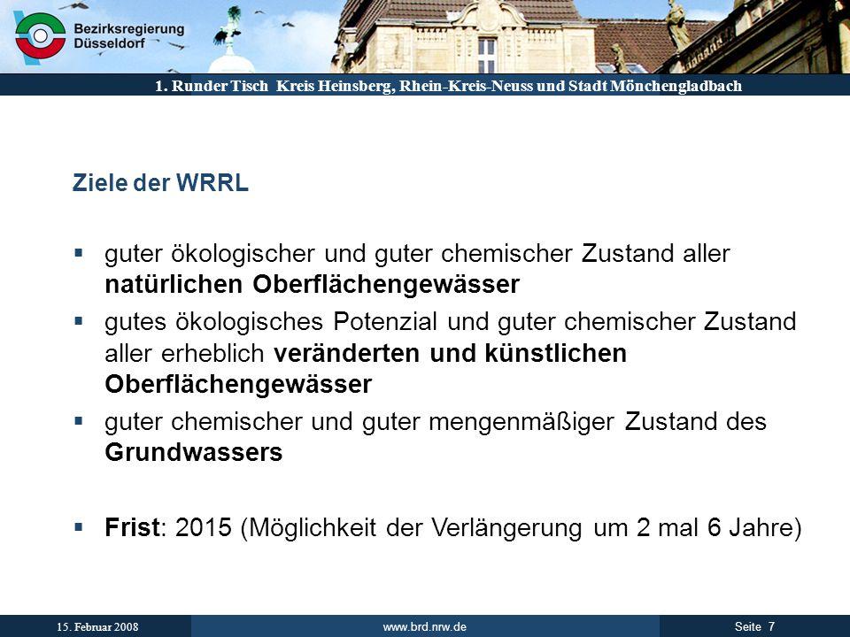 www.brd.nrw.de 7Seite 15. Februar 2008 1. Runder Tisch Kreis Heinsberg, Rhein-Kreis-Neuss und Stadt Mönchengladbach Ziele der WRRL guter ökologischer