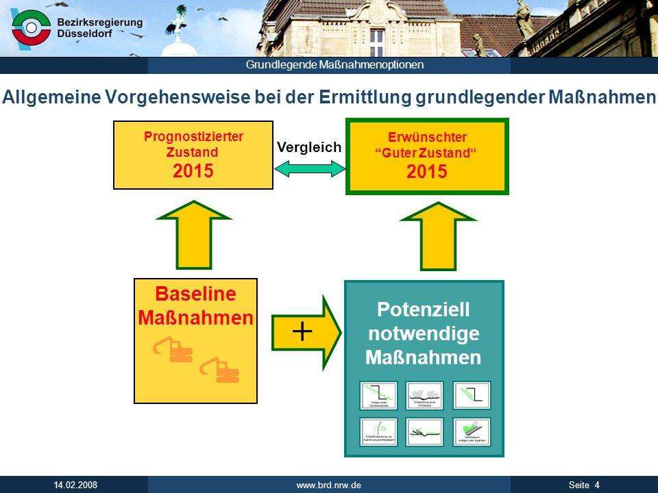 www.brd.nrw.de 4Seite 14.02.2008 Grundlegende Maßnahmenoptionen Allgemeine Vorgehensweise bei der Ermittlung grundlegender Maßnahmen Potenziell notwen