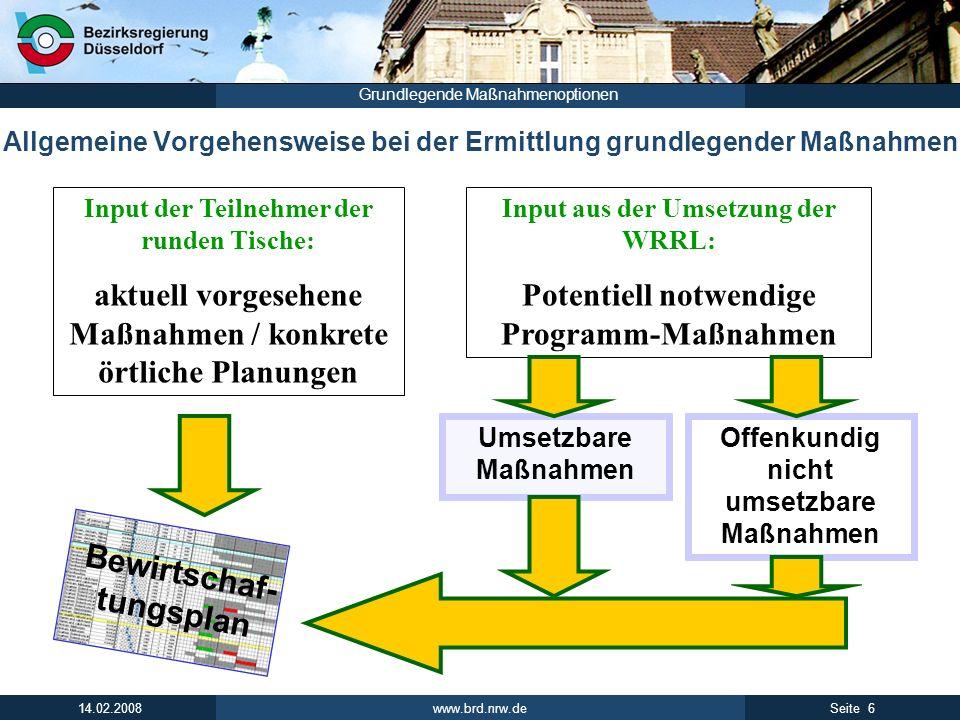 www.brd.nrw.de 6Seite 14.02.2008 Grundlegende Maßnahmenoptionen Allgemeine Vorgehensweise bei der Ermittlung grundlegender Maßnahmen Input der Teilneh