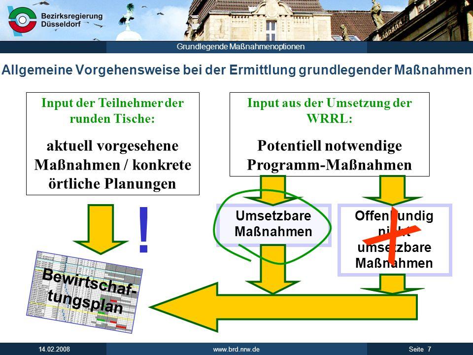 www.brd.nrw.de 7Seite 14.02.2008 Grundlegende Maßnahmenoptionen Allgemeine Vorgehensweise bei der Ermittlung grundlegender Maßnahmen Input der Teilneh