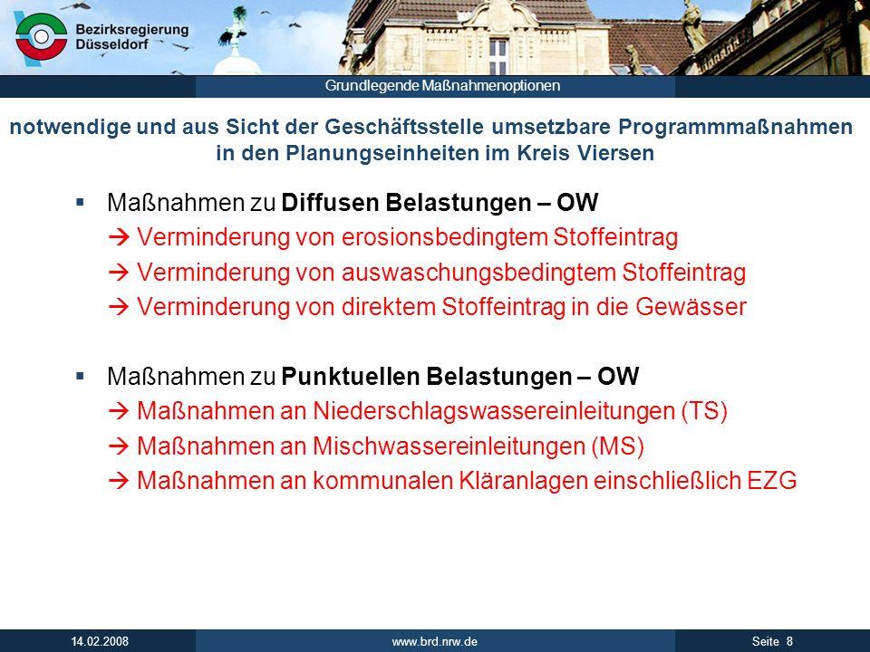 www.brd.nrw.de 8Seite 14.02.2008 Grundlegende Maßnahmenoptionen notwendige und aus Sicht der Geschäftsstelle umsetzbare Programmmaßnahmen in den Planu