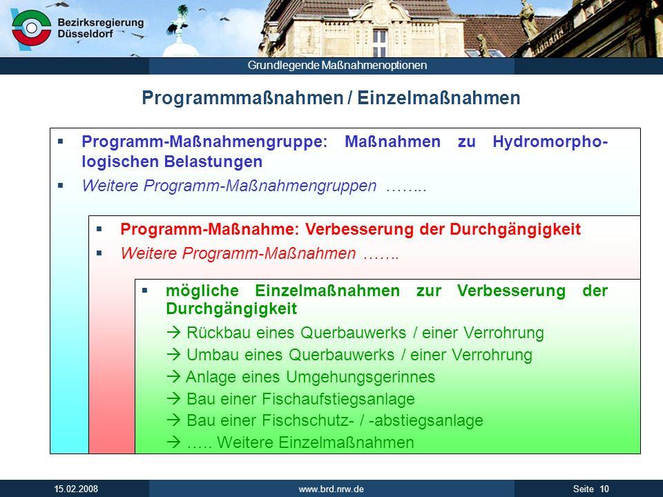 www.brd.nrw.de 10Seite 15.02.2008 Grundlegende Maßnahmenoptionen Programmmaßnahmen / Einzelmaßnahmen Programm-Maßnahmengruppe: Maßnahmen zu Hydromorpho- logischen Belastungen Weitere Programm-Maßnahmengruppen ……..