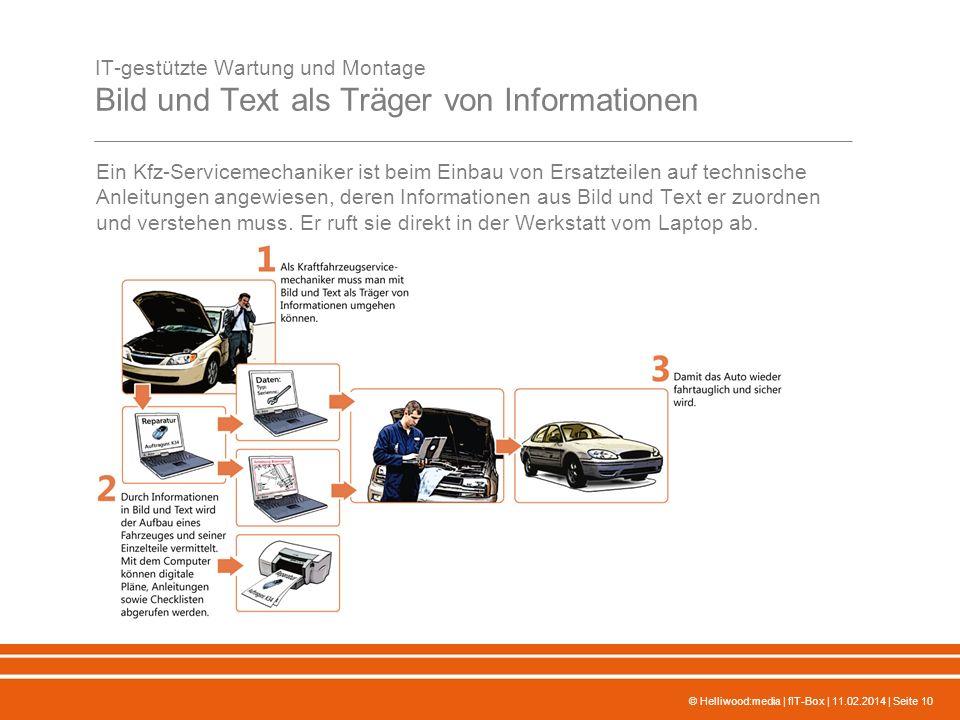 © Helliwood:media | fIT-Box | 11.02.2014 | Seite 10 IT-gestützte Wartung und Montage Bild und Text als Träger von Informationen Ein Kfz-Servicemechani