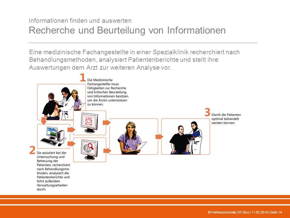 © Helliwood:media | fIT-Box | 11.02.2014 | Seite 14 Informationen finden und auswerten Recherche und Beurteilung von Informationen Eine medizinische F