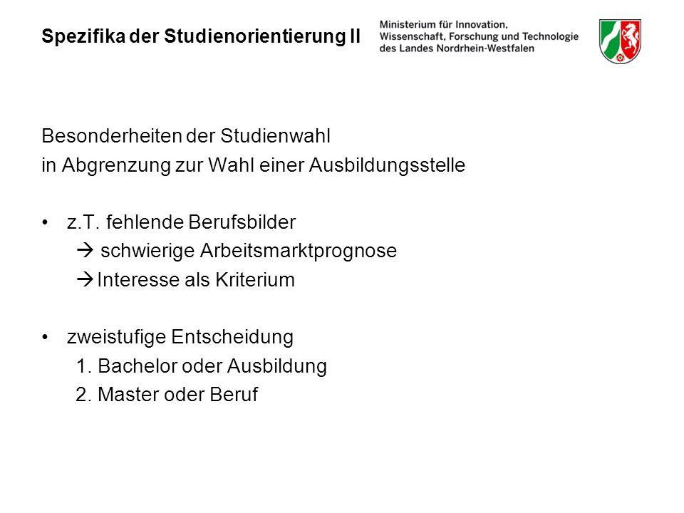 Spezifika der Studienorientierung II Besonderheiten der Studienwahl in Abgrenzung zur Wahl einer Ausbildungsstelle z.T.