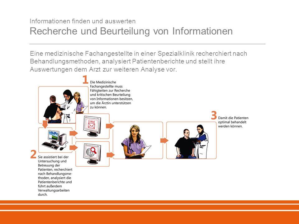 Informationen finden und auswerten Recherche und Beurteilung von Informationen Eine medizinische Fachangestellte in einer Spezialklinik recherchiert nach Behandlungsmethoden, analysiert Patientenberichte und stellt ihre Auswertungen dem Arzt zur weiteren Analyse vor.
