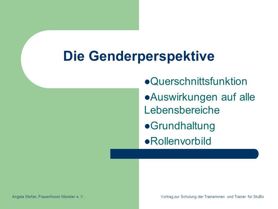 Die Genderperspektive Querschnittsfunktion Auswirkungen auf alle Lebensbereiche Grundhaltung Rollenvorbild Angela Stefan, Frauenforum Münster e. V., V