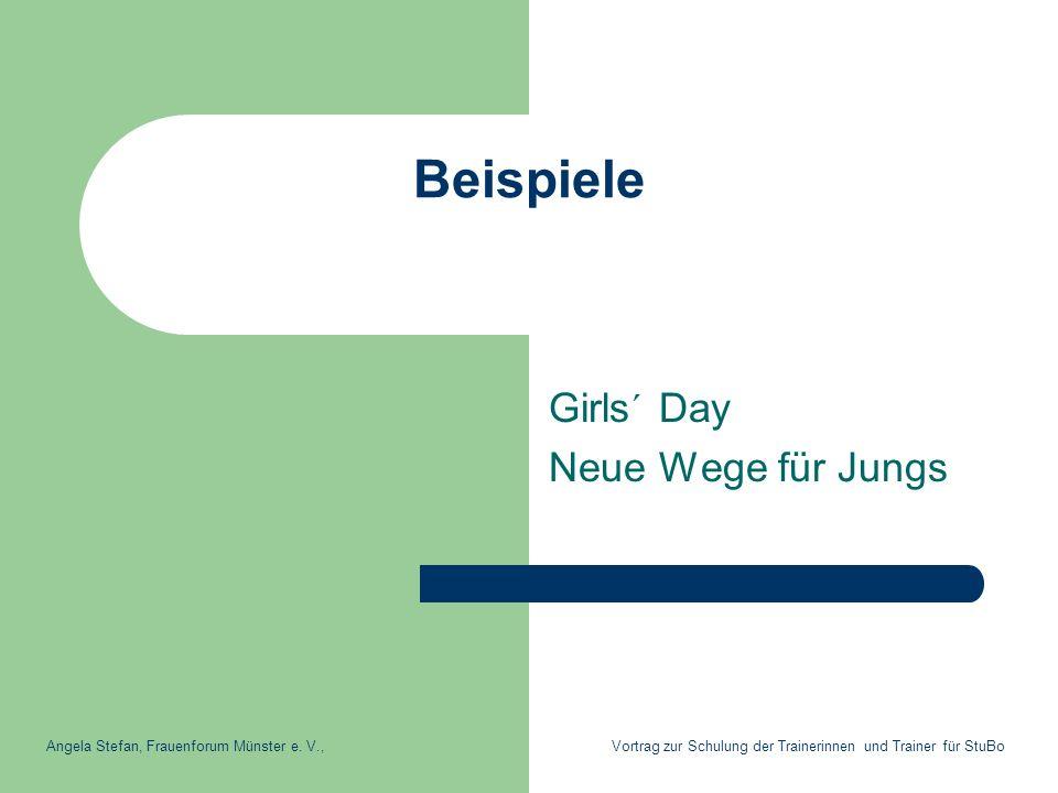 Beispiele Girls´ Day Neue Wege für Jungs Angela Stefan, Frauenforum Münster e. V., Vortrag zur Schulung der Trainerinnen und Trainer für StuBo