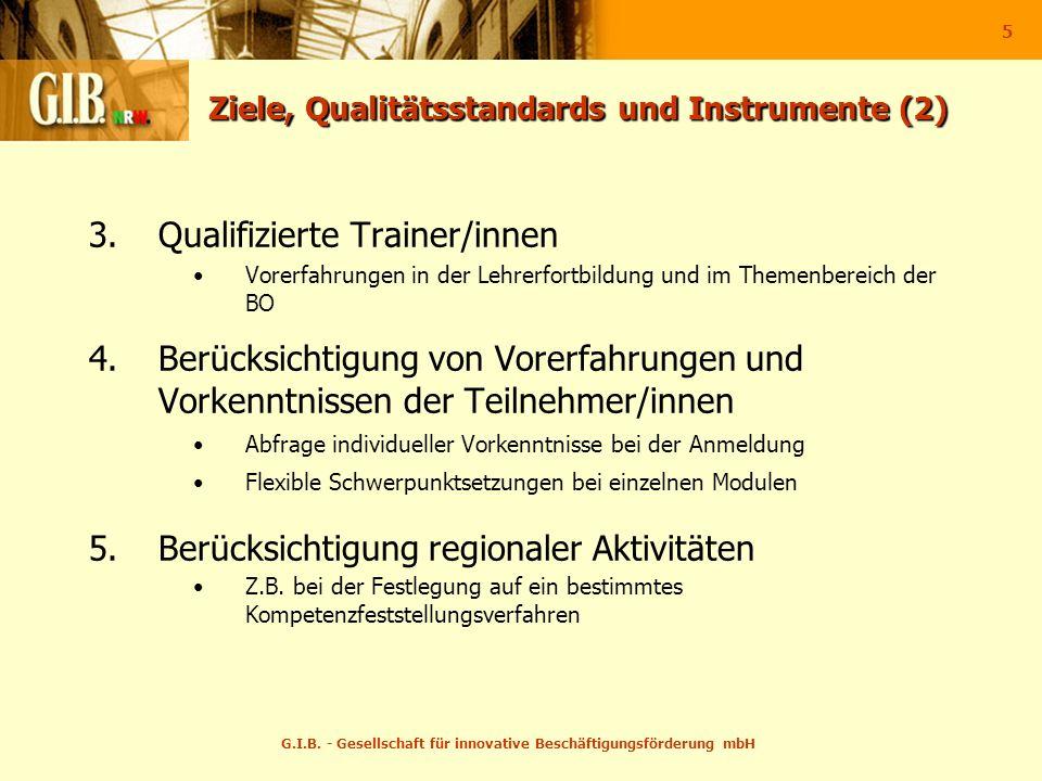 G.I.B. - Gesellschaft für innovative Beschäftigungsförderung mbH 5 Ziele, Qualitätsstandards und Instrumente (2) 3.Qualifizierte Trainer/innen Vorerfa