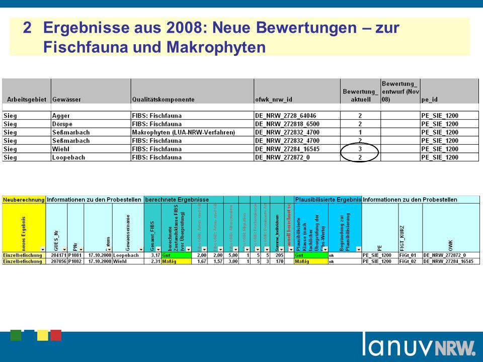 2 Ergebnisse aus 2008: Neue Bewertungen – zur Fischfauna und Makrophyten