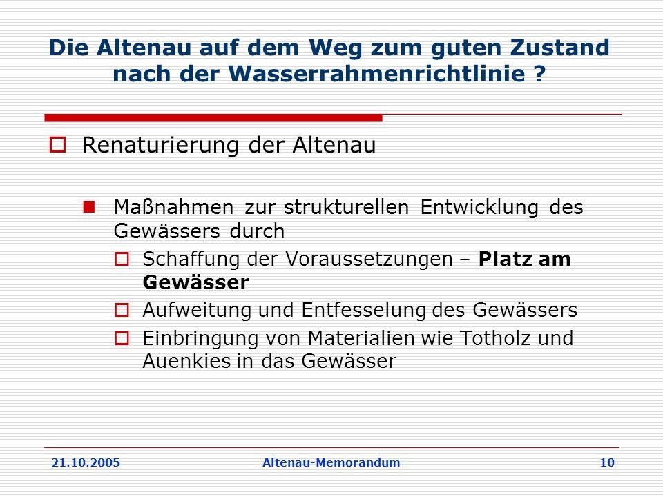 21.10.2005Altenau-Memorandum 10 Die Altenau auf dem Weg zum guten Zustand nach der Wasserrahmenrichtlinie .