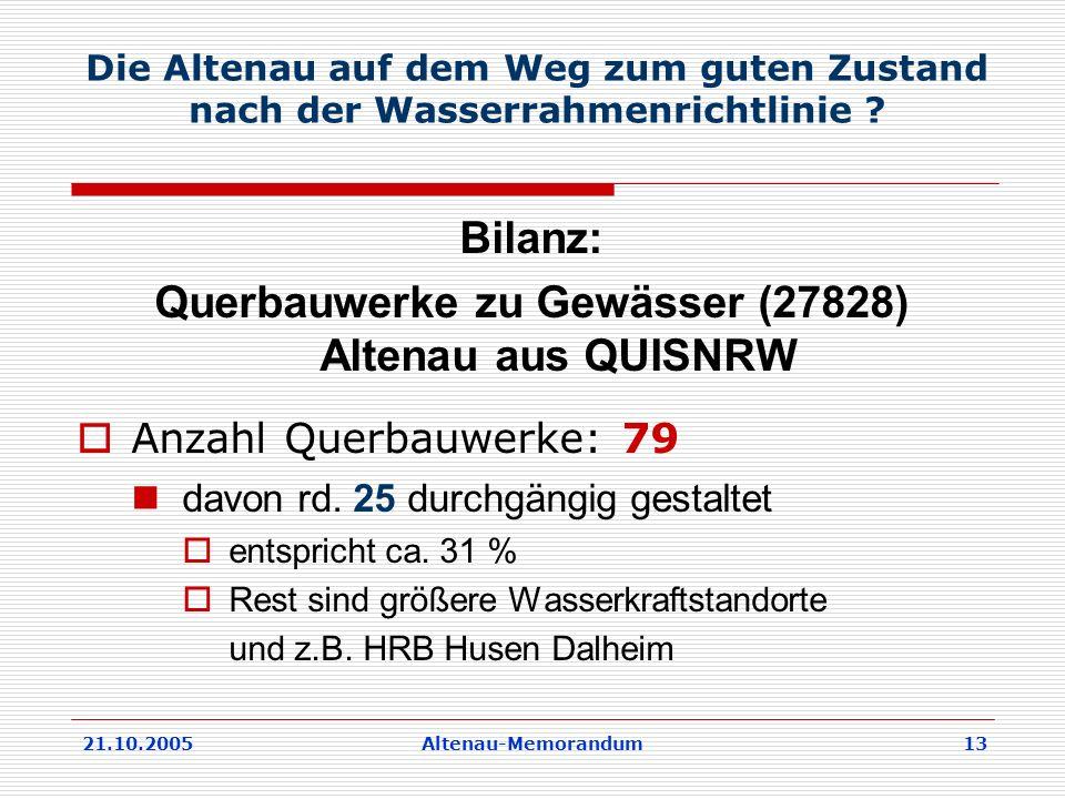 21.10.2005Altenau-Memorandum 13 Die Altenau auf dem Weg zum guten Zustand nach der Wasserrahmenrichtlinie .
