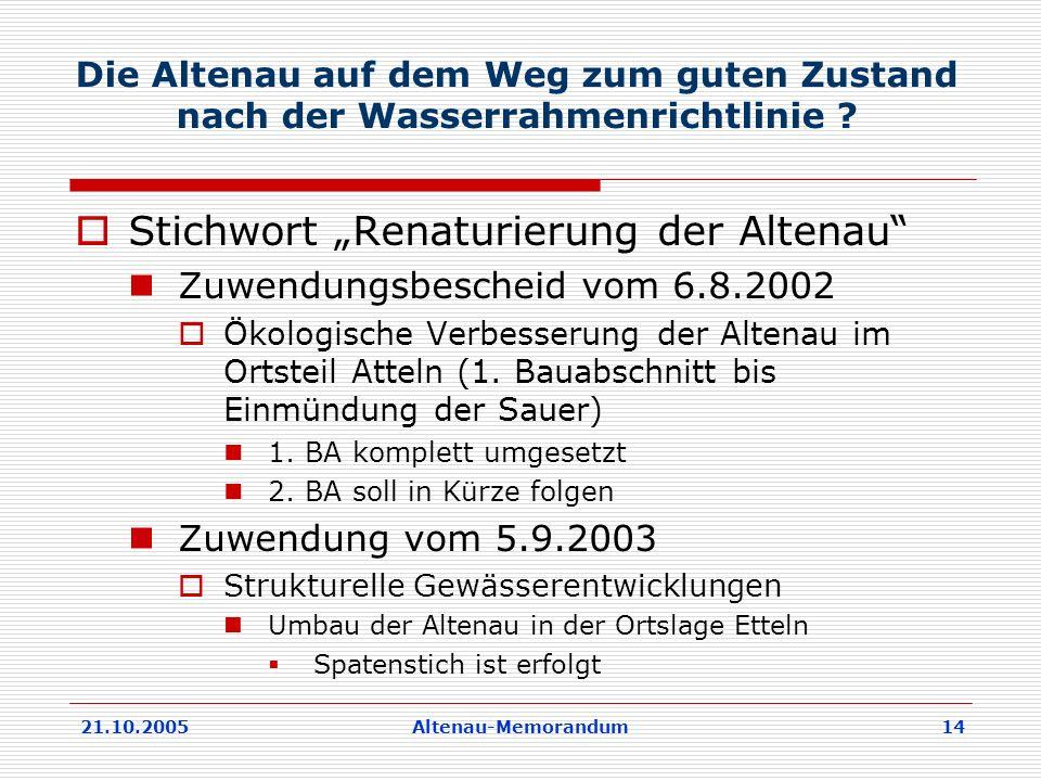 21.10.2005Altenau-Memorandum 14 Die Altenau auf dem Weg zum guten Zustand nach der Wasserrahmenrichtlinie .