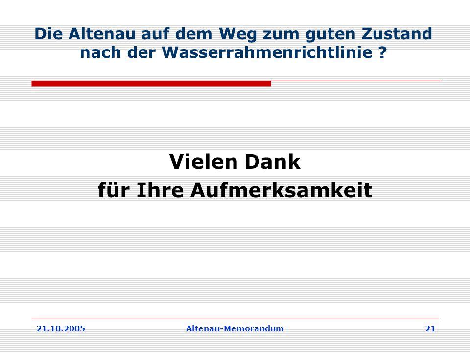 21.10.2005Altenau-Memorandum 21 Die Altenau auf dem Weg zum guten Zustand nach der Wasserrahmenrichtlinie .