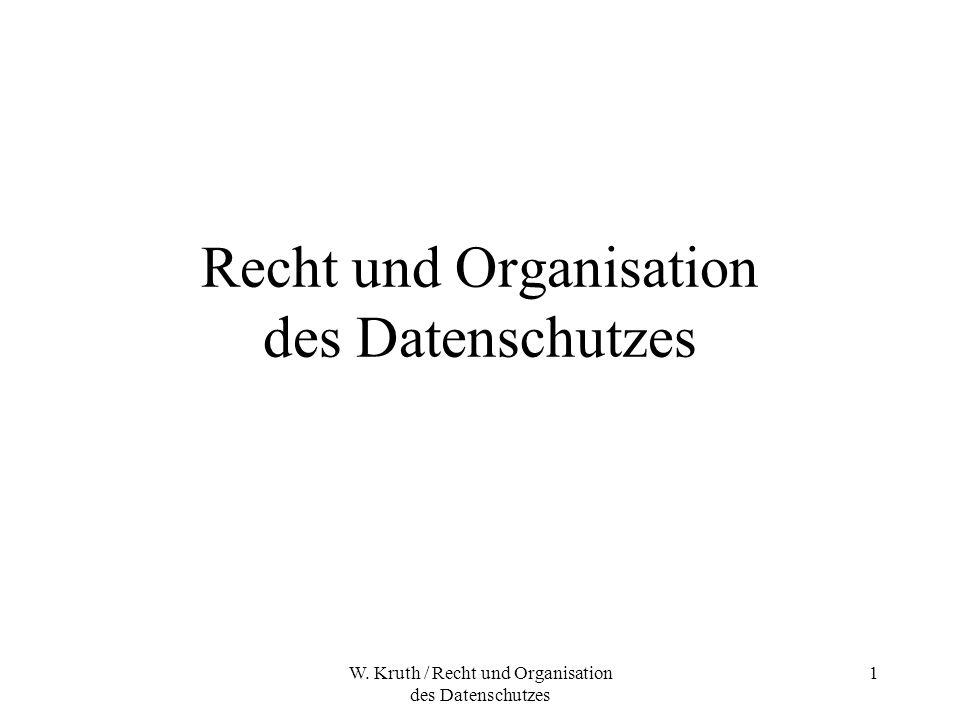 W. Kruth / Recht und Organisation des Datenschutzes 1 Recht und Organisation des Datenschutzes