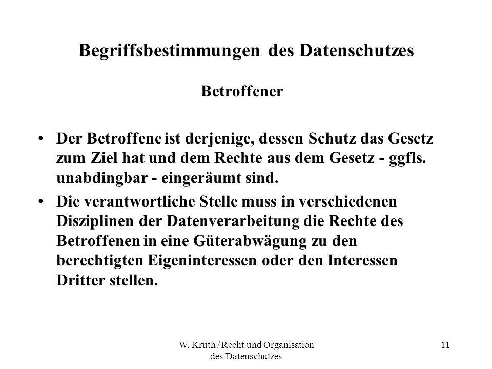 W. Kruth / Recht und Organisation des Datenschutzes 11 Begriffsbestimmungen des Datenschutzes Betroffener Der Betroffene ist derjenige, dessen Schutz
