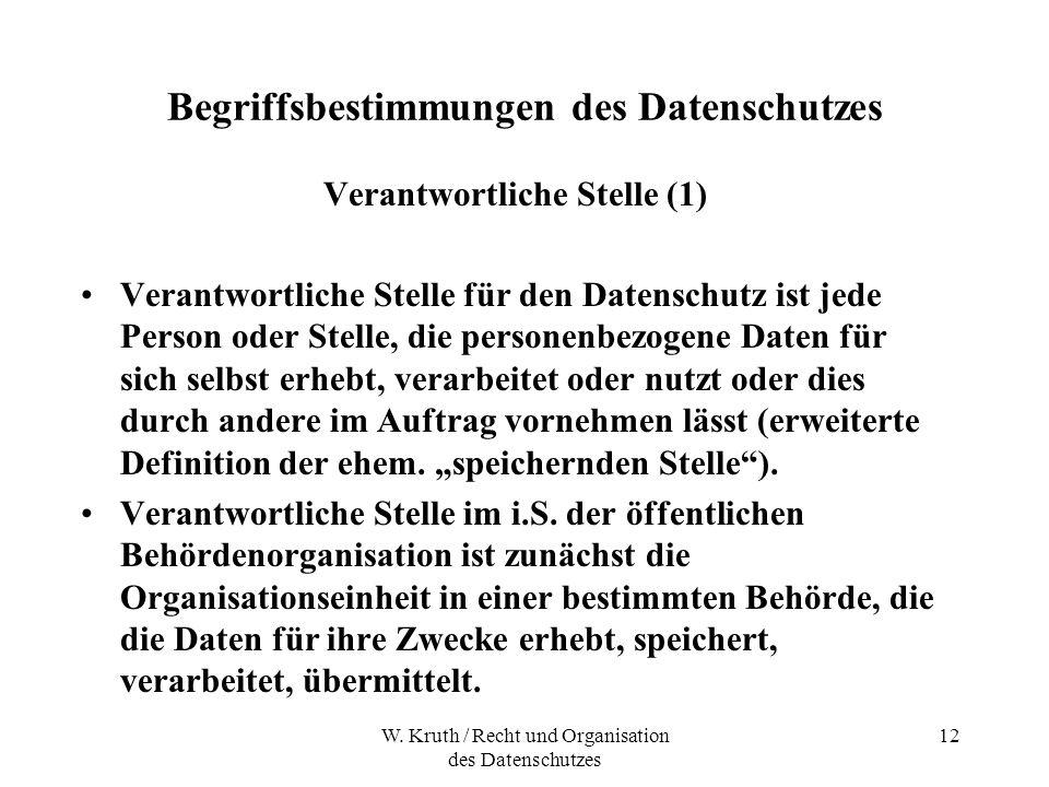 W. Kruth / Recht und Organisation des Datenschutzes 12 Begriffsbestimmungen des Datenschutzes Verantwortliche Stelle (1) Verantwortliche Stelle für de