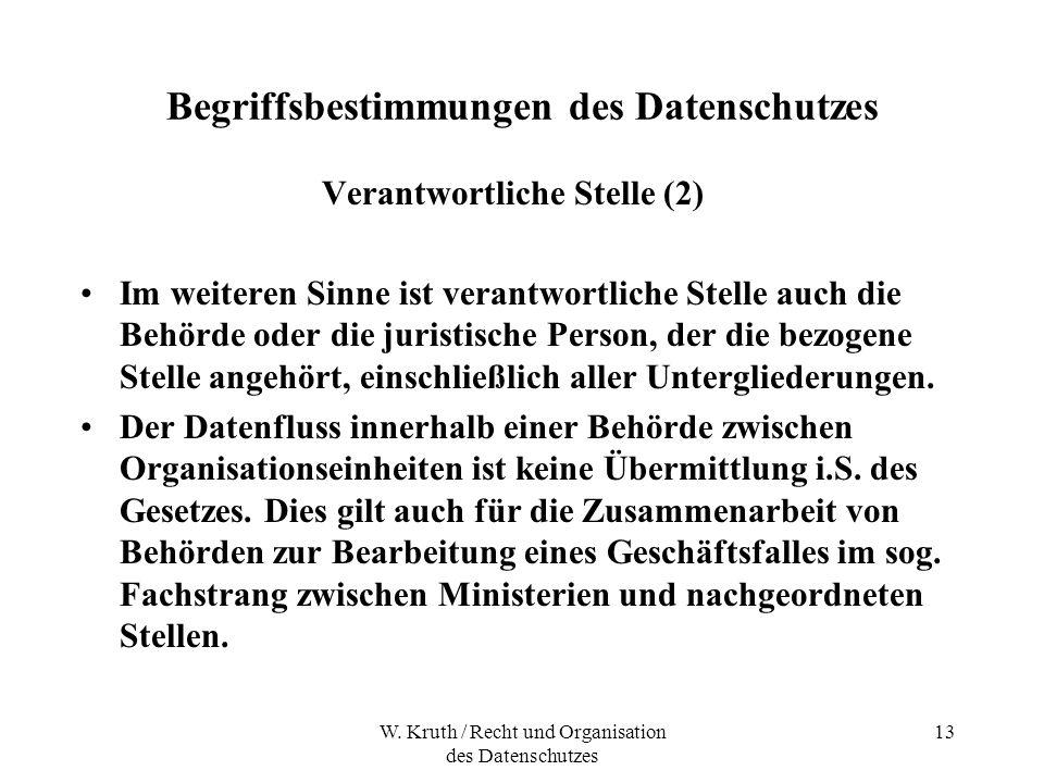 W. Kruth / Recht und Organisation des Datenschutzes 13 Begriffsbestimmungen des Datenschutzes Verantwortliche Stelle (2) Im weiteren Sinne ist verantw