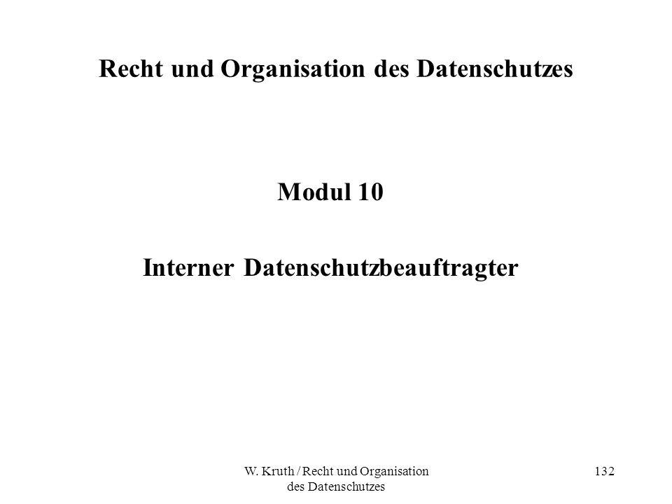 W. Kruth / Recht und Organisation des Datenschutzes 132 Recht und Organisation des Datenschutzes Modul 10 Interner Datenschutzbeauftragter