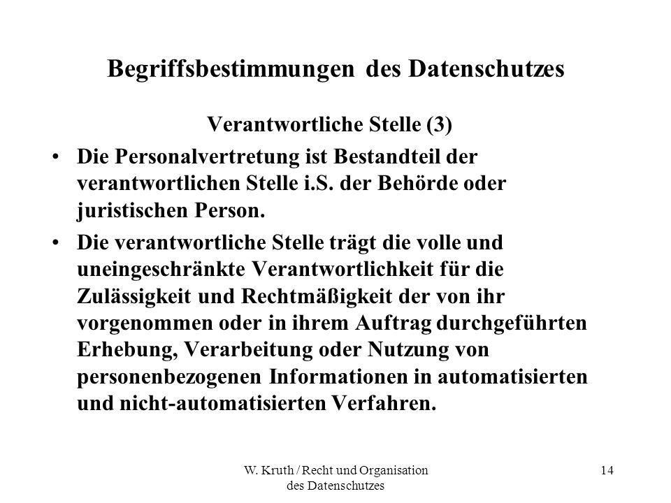 W. Kruth / Recht und Organisation des Datenschutzes 14 Begriffsbestimmungen des Datenschutzes Verantwortliche Stelle (3) Die Personalvertretung ist Be
