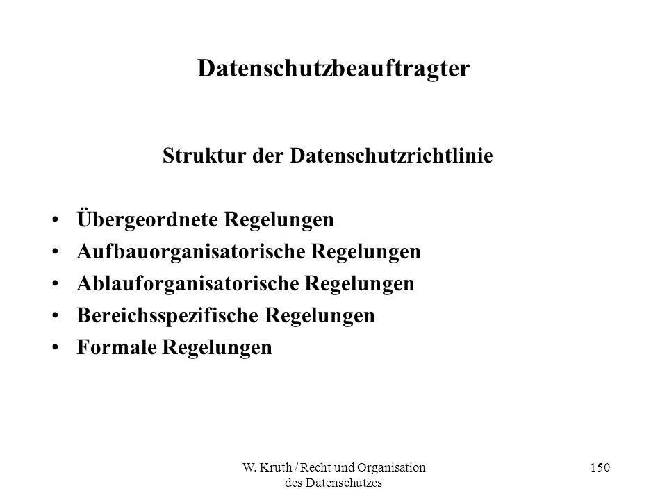 W. Kruth / Recht und Organisation des Datenschutzes 150 Datenschutzbeauftragter Struktur der Datenschutzrichtlinie Übergeordnete Regelungen Aufbauorga