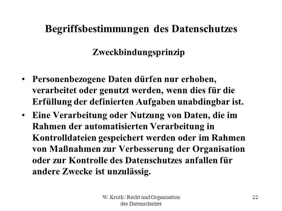 W. Kruth / Recht und Organisation des Datenschutzes 22 Begriffsbestimmungen des Datenschutzes Zweckbindungsprinzip Personenbezogene Daten dürfen nur e