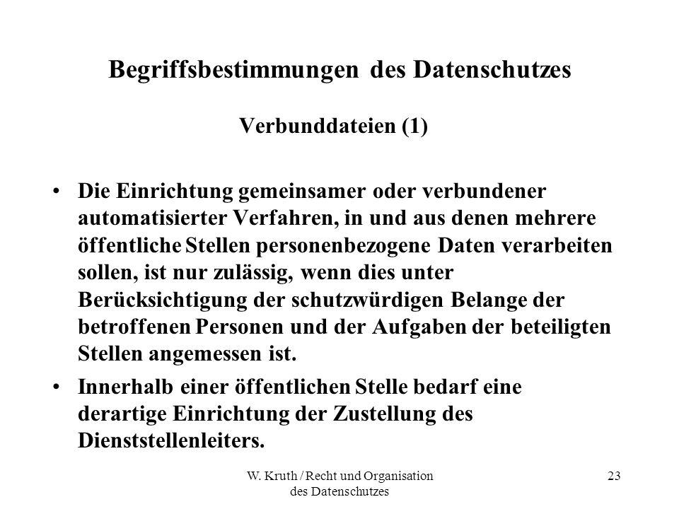 W. Kruth / Recht und Organisation des Datenschutzes 23 Begriffsbestimmungen des Datenschutzes Verbunddateien (1) Die Einrichtung gemeinsamer oder verb