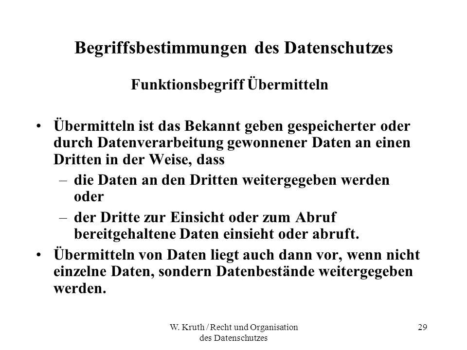 W. Kruth / Recht und Organisation des Datenschutzes 29 Begriffsbestimmungen des Datenschutzes Funktionsbegriff Übermitteln Übermitteln ist das Bekannt