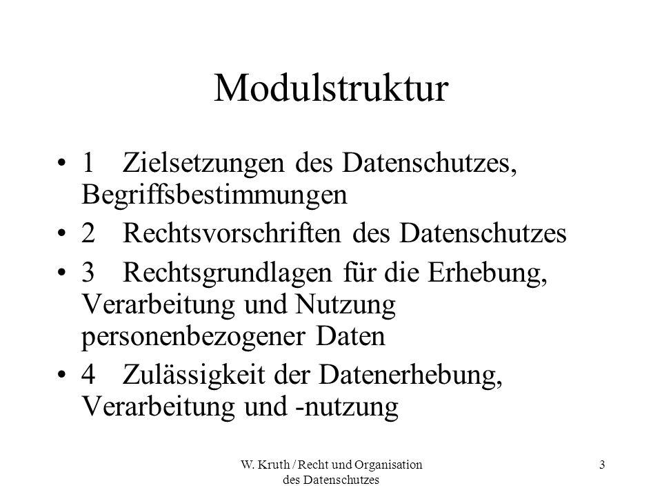 W. Kruth / Recht und Organisation des Datenschutzes 3 Modulstruktur 1Zielsetzungen des Datenschutzes, Begriffsbestimmungen 2Rechtsvorschriften des Dat