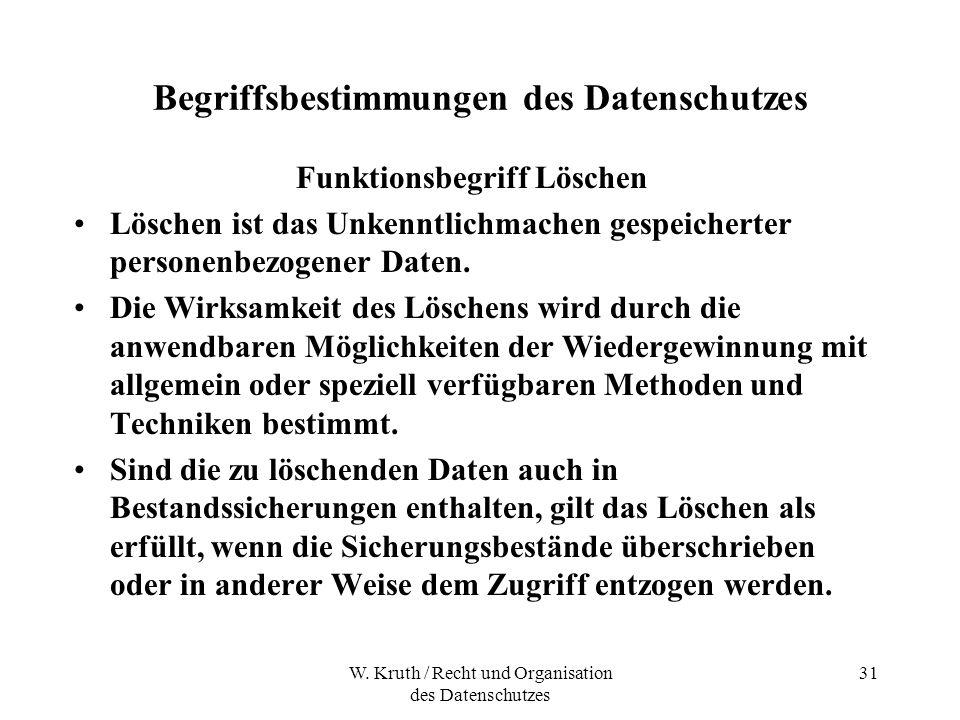 W. Kruth / Recht und Organisation des Datenschutzes 31 Begriffsbestimmungen des Datenschutzes Funktionsbegriff Löschen Löschen ist das Unkenntlichmach