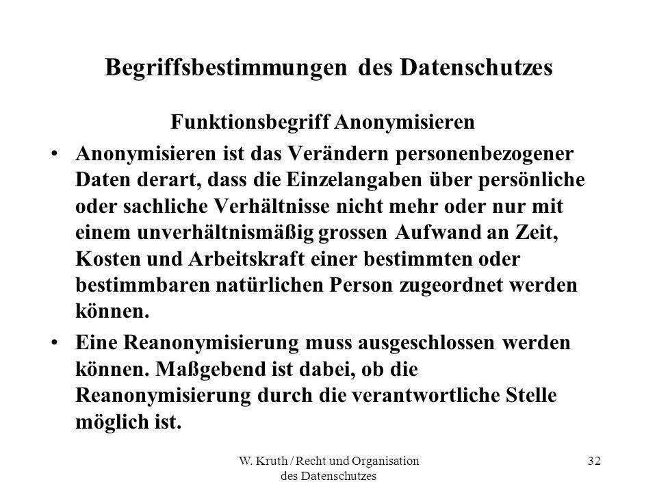 W. Kruth / Recht und Organisation des Datenschutzes 32 Begriffsbestimmungen des Datenschutzes Funktionsbegriff Anonymisieren Anonymisieren ist das Ver