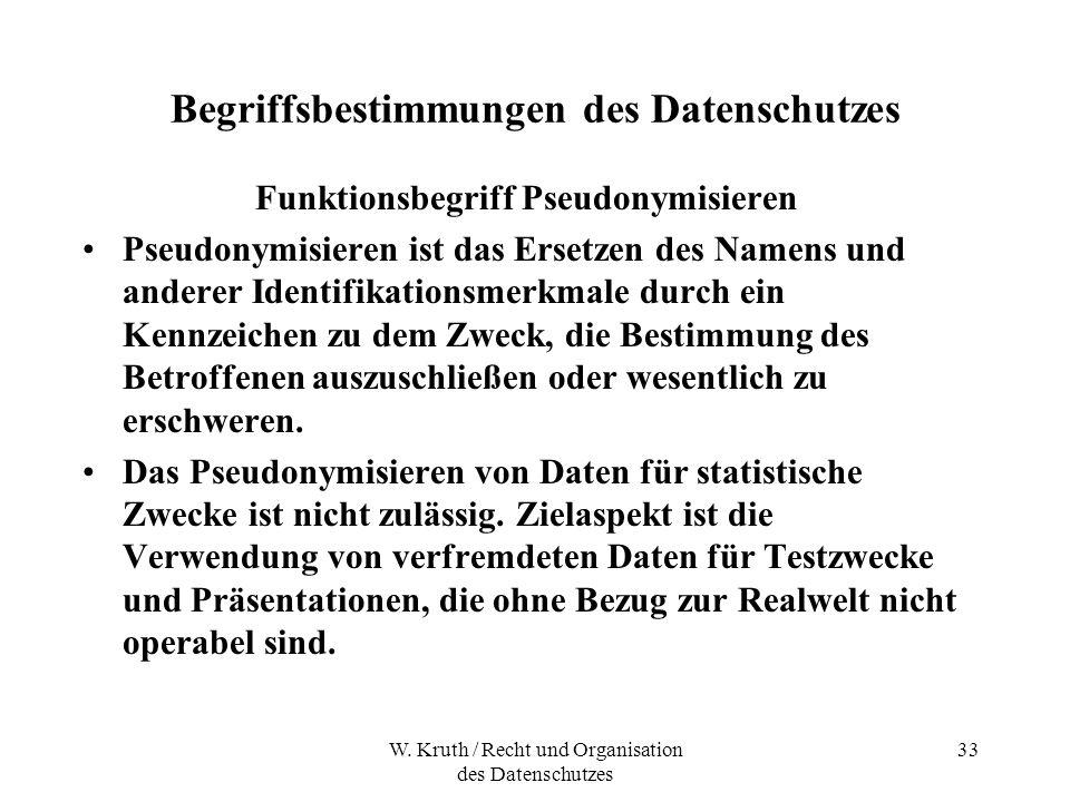 W. Kruth / Recht und Organisation des Datenschutzes 33 Begriffsbestimmungen des Datenschutzes Funktionsbegriff Pseudonymisieren Pseudonymisieren ist d