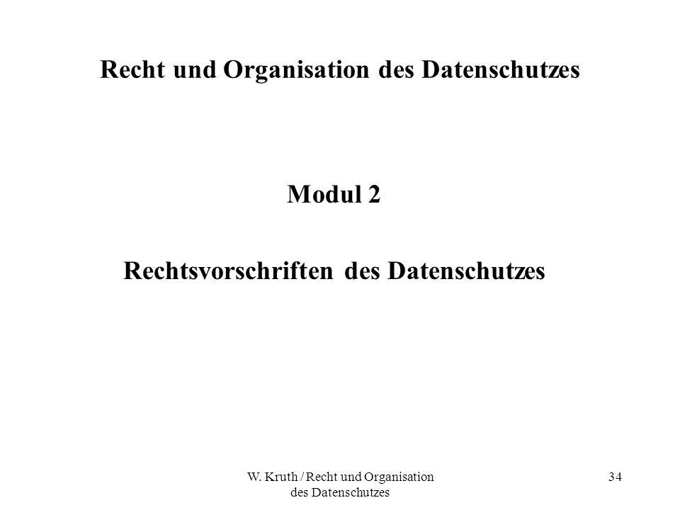 W. Kruth / Recht und Organisation des Datenschutzes 34 Recht und Organisation des Datenschutzes Modul 2 Rechtsvorschriften des Datenschutzes